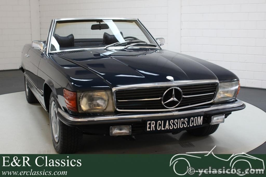 Mercedes Benz 350SL V8 convertible dark blue