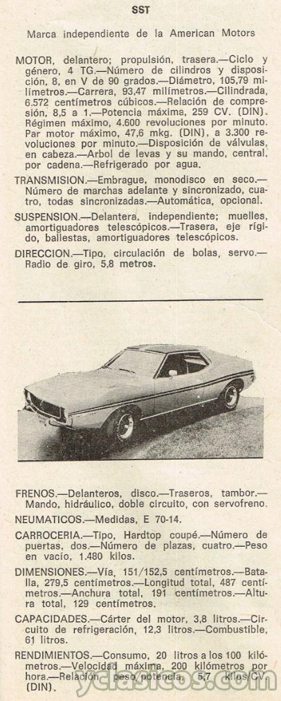 javelin sst - ficha t u00e9cnica de  u00e9poca 1972