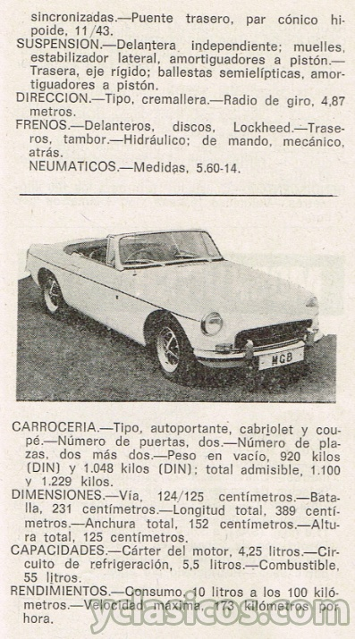 mg mgb - ficha t u00e9cnica de  u00e9poca 1972